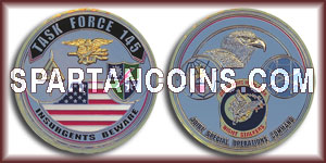 Limited Edition 2 inch Chromium with gold plating and epoxy - Task Force 145 Challenge Coin
